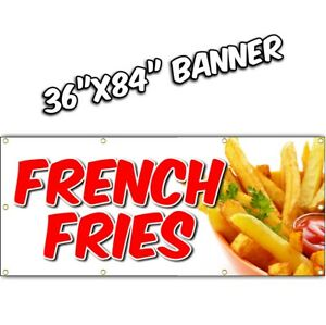 French Fries Banner Deep Fried Chili Dog Tenders Chicken Nachos Lemonade 36x84