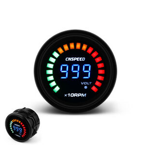 2 52mm Auto Car Digital Smoked 0 10000 Rpm Tachometer Gauge Meter 20 Led Light