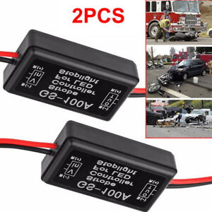 2x Gs 100a Car Pickup Led Brake Stop Bulb Light Strobe Flash Module Controller