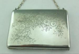Antique Victorian Solid Sterling Silver Aesthetic Period Card Case