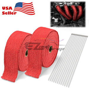 2 Roll X 2 50ft Red Exhaust Wrap Manifold Header Fiberglass Heat Wrap Tape