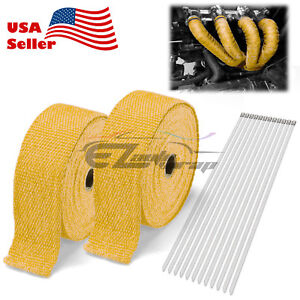 2 Rollx2 50ft Yellow Exhaust Thermal Wrap Manifold Header Isolation Heat Tape