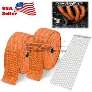 2 Roll X 2 50ft Orange Exhaust Wrap Header Manifold Fiberglass Heat Wrap Tape