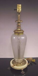 Hp Sinclaire Hawkes Engraved Pearl Glass Lamp Ormolu Marble Base Steuben Style