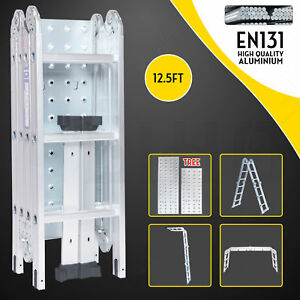 12 5ft Multi Purpose Aluminum Folding Step Ladder Scaffold Extendable Heavy Duty