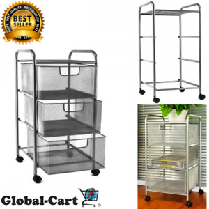 3 Tier Mesh File Storage Cart W Drawers Durable Metal Rolling Office Silver 6 h