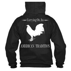 Black Gamefowl Hoodie Sweatshirt American Tradition Rooster New Custom Made S xl