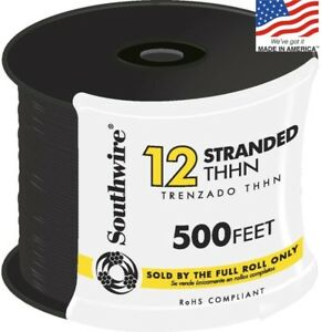 Black Copper Wire 500ft 12 Awg Stranded Thhn Roll Electrical New Cable Insulated