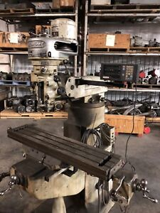 9 X 42 Bridgeport Vertical Milling Machine With Dro And Powerfeed runs Well