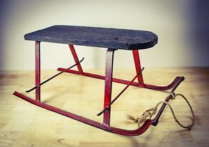 Antique 1900s Sleigh Wood Iron Snow Iron Curlicue Runners Vintage Winter Sled