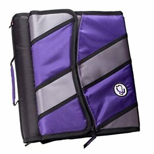 Case it Sidekick 2 inch O ring Zipper Binder With Removable Tab File Purple D