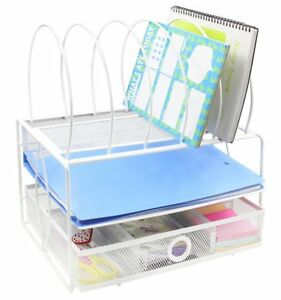 Easypag Mesh Desk File Organizer With 5 Sorter Sections Double Letter Tray And