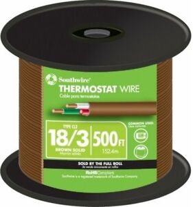 500 Ft 18 Awg 3 Conductor Thermostat Wire Brown Pvc Copper Jacket Solid Roll 150