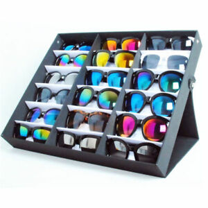 18pcs Vertical Portable Sunglass Covered Tray Standup Sunglasses Rack Rack 5 S2