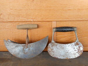 Farmhouse Decor Food Choppers Primitive Lot Of 2 Antique Steel Wood Country