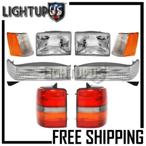 1993 1996 Jeep Grand Cherokee Corner Parking Headlights Tail Lights Combo Set