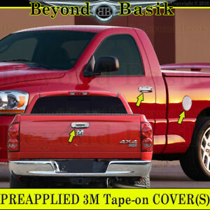 02 08 Dodge Ram 1500 03 09 2500 3500 Chrome Door Handle Covers Nopk Tailgate Gas