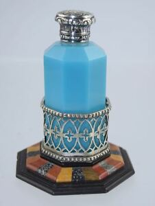 Rare Antique Octagonal Blue Opaline Glass Perfume Bottle W Specimen Stone Base
