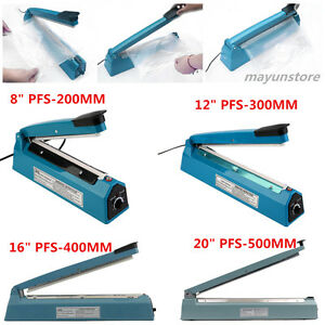 8 16 20 Heat Sealing Hand Impulse Poly Sealer Plastic Closer Machine Teflon