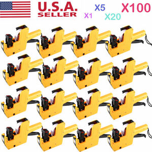 1 100x Mx 5500 Eos 8 Digits Price Tag Gun Sticker Labels ink Yellow Lot M