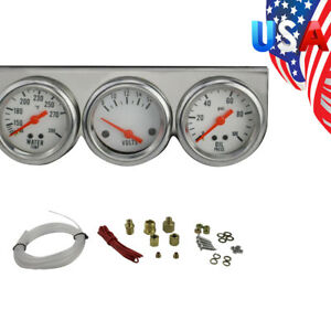 Universal 50mm Chrome Oil Pressure Water Volt Triple 3 Gauge Set Gauges Kit