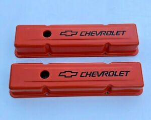 Chevrolet Sbc Orange Steel Stock Valve Covers W Black Chevrolet Logo 58 86 New