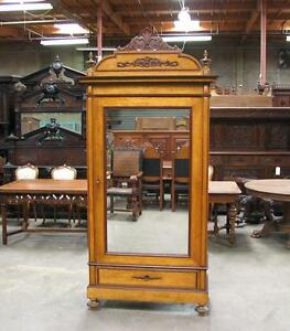 It2910 1 Antique Italian Single Door Renaissance Armoire W Birds Eye Maple