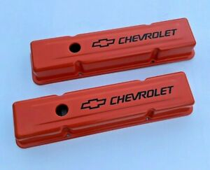 Chevrolet Sbc Orange Steel Tall Valve Covers W black Chevrolet Logo 58 86 New Pr