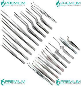 20 Pcs Surgical Forceps Tweezers Pliers Stainless Steel Premium Instruments