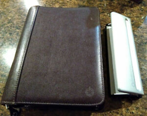 Franklin Covey Classic Brown Leather Zipper Binder Planner 7 hole Desk Punch