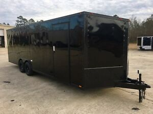 New 8 5x24 Slanted V nose Enclosed Cargo Blacked Out Trailer Car Hauler 8 5x24