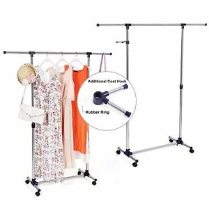 Heavy Duty Commercial Clothing Rolling Collapsible Rack Garment Rack chrome