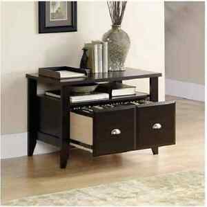 Wood File Cabinet 2 Drawer Brown Home Office Filing Storage Furniture Lateral
