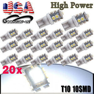 20x Pure White T10 10smd Led License Plate Interior Lights Bulb W5w 168 194 2825