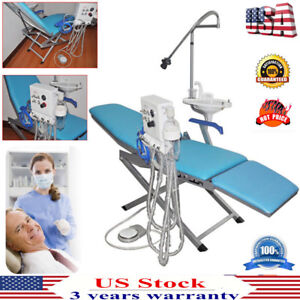 Dental Portable Folding Chair led Light turbine Unit weak Suction 4 Hole Best