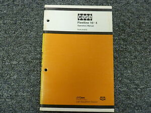 Case Fleetline 16 4 Trencher Backhoe Owner Operator Maintenance Manual 9 6572