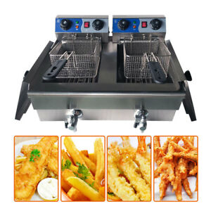 Dual Tank 20l Stainless Steel Commercial Electric Deep Fryer Cooker Restaurant