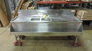 Supreme Metal Commercial 3 compartment Sink W 2 Drainboards Speed Rail