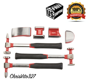 Body And Fender Set 7 Pc Dent Repair Tool Work Hammer Car Auto Kit Hand Dolly