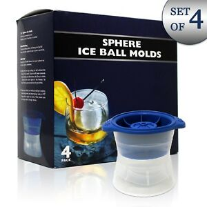 BlueWiz Ice Ball Molds - Pack of 4 – Sphere Silicone Round Ice for Whiskey