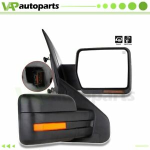 Left Right Fits 07 14 Ford F150 Power Heated Led Signal Puddle Light Tow Mirrors