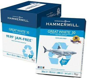 Hammermill Great White Copy Paper 30 Recycled 92 Bright 8 1 2 X 11 2 500 Sheets