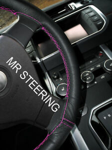 Black Leather Steering Wheel Cover For Volkswagen Eos 06 Hot Pink Double Stitch