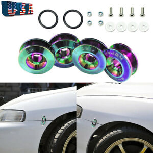 Jdm Neo Chrome Quick Release Fasteners Set Car Bumpers Trunk Fender Hatch Lids