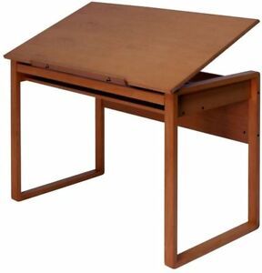 Solid Wood Drafting Table Furniture Home Storage Organizer Rectangle Drawer