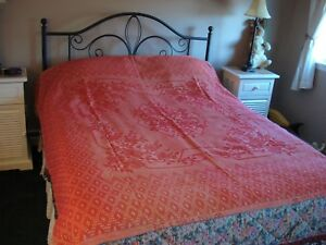 Vintage Antique Coverlet Red White Woven Jacquard Textile 83 X 77 Patented