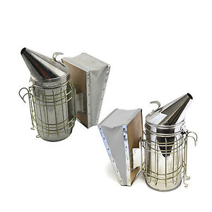 Beekeeping Equipment Bee Hive Smoker Stainless Steel With Heat Shield Set Of 2