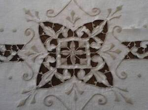 Vintage Madeira Linen Embroidered Tablecloth Taupe Needle Lace Cutwork 80
