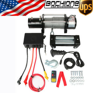 12v 12000lbs Electric Winch With Steel Wire Rope Wireless Remote Control Suv New