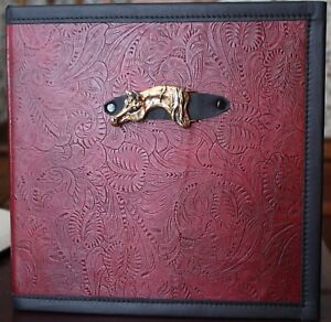Gold Arabian Horse Buckle On Oxblood Maroon Western Leather 2 3 Ring Binder